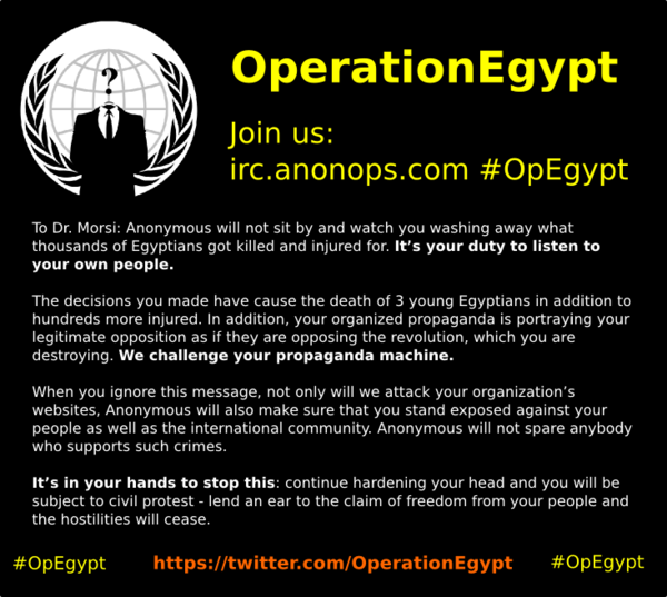 Anonymous hit Egyptian government website as #OpEgypt