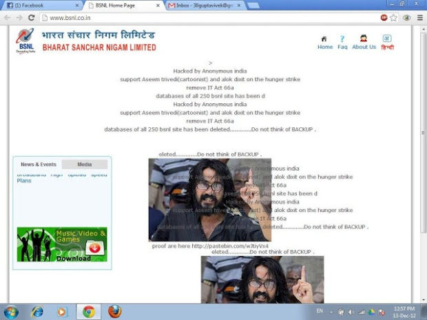 BSNL telecom server hacked by Anonymous Group