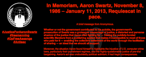 Anonymous Appears To Have Hacked MIT Website, Leaves Swartz Tribute