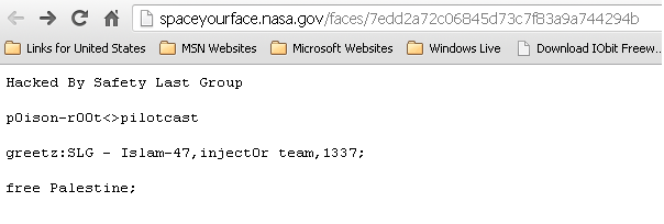 NASA space your face domain hacked