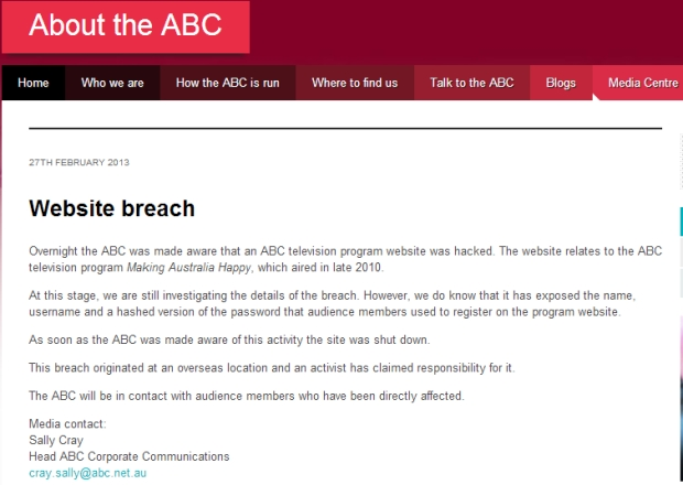 ABC website hacked and personal details exposed