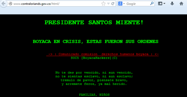 Colombian Government Website Hacked