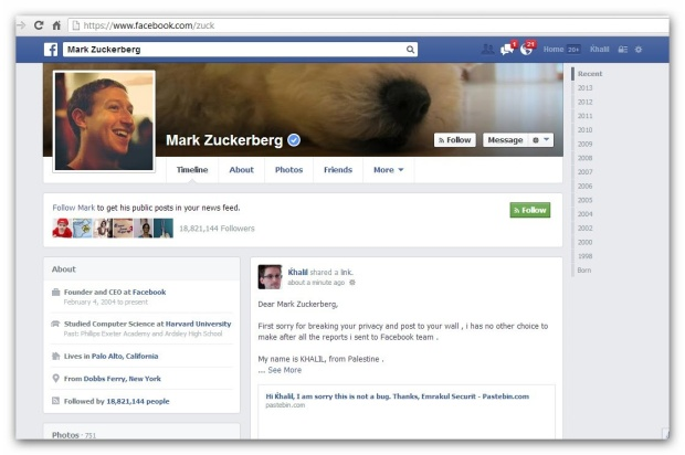 A screenshot of the message left on Mark Zuckerberg's wall